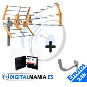 KIT ANTENA UHF 15dB + Soporte + Amplificador de mastil
