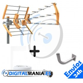 Kit Antena Terrestre + Soporte pared L + Cable + Conectores
