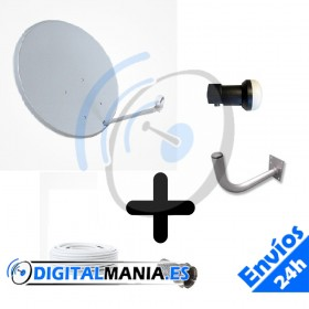 Kit parabólica 60 cm + LNB + Soporte pared + Cable + Conectores