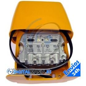 Amplificador de mástil 3e/1s BIII/UHF [dc]-FImix [dc]